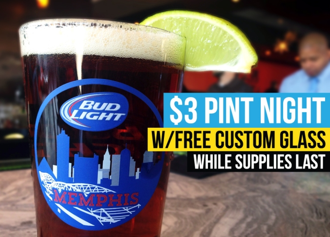 Choose901-birthday-event-swanky's-taco-shop-memphis-custom-pint-glass-budlight